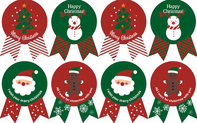 CHRISTMAS Stickers XMAS Red & Green  Labels Seals Stickers Decoration Gift 8 pcs