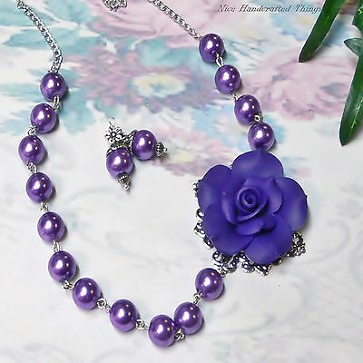 Purple rose and pearl necklace and earrings set clip on or pierced