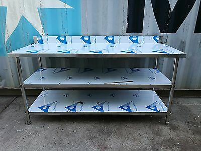 Brand New Stainless Steel 3 Level Bench with splash back 1800 x 700 x 900