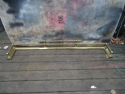 Antique Pure Brass Fireplace Fender,a Very Unique Fender And Finials,unpolished