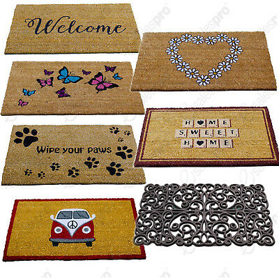 Coir Door Mats - Choice Of Printed Design - 75cm x 45cm - Strong Vinyl Backing