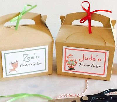 Personalised Christmas Eve Gift Box Kraft Brown Gift Party Favour & Tissue Paper