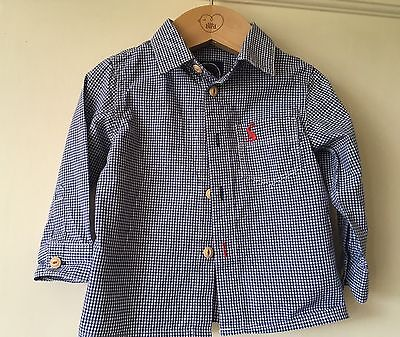 Joules Baby Boys Navy Blue White Check Long Sleeve Cotton Shirt Size 3-6 Months