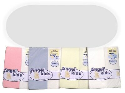 Moses Mattress & 2 Pack Moses Fitted Cotton Sheets White Cream Pink Blue 74x28