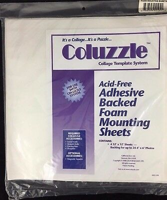 Coluzzle Foam Mounting Sheets Acid Free Adhesive Backed 4 Pieces 12x12 NEW