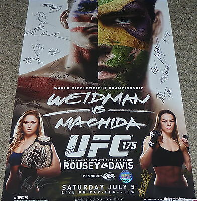 UFC 175 OFFICIAL SIGNED EVENT POSTER MMA Fight Rousey Weidman Machida 092/125