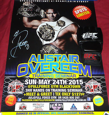 ALISTAIR OVEREEM SIGNED UFC FIGHT GLOVE + MASSIVE POSTER mma K-1 muay thai pride