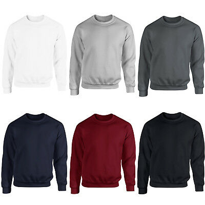 Men Sweatshirt Crewneck Plain Design Cotton Sport Casual Fleece Coat Fitness