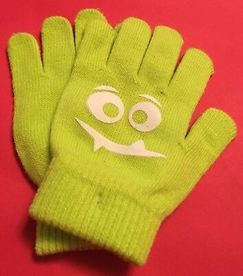 """NWOT Neon Green """"Toothy Fang Face"""" Kids Unisex  Winter Gloves Size-OSFM"""