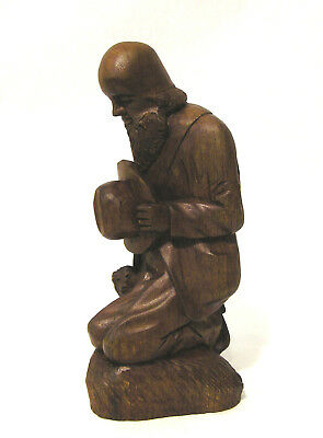 "Hand Carved ""Man Praying on Bended Knee w/Dog"" Unique Wooden Figurine 8"" Tall"