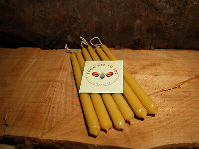 6x 100% beeswax candles handmade pure quality natural hand dipped from Devon UK