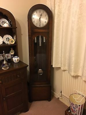 Enfield Art Deco Style Oak Grandfather Clock Circa 1935.