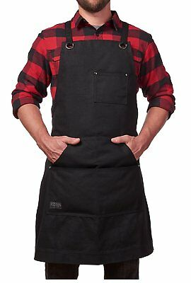 Hudson Durable Goods - Heavy Duty Waxed Canvas Work Apron with Tool Pockets (Bl