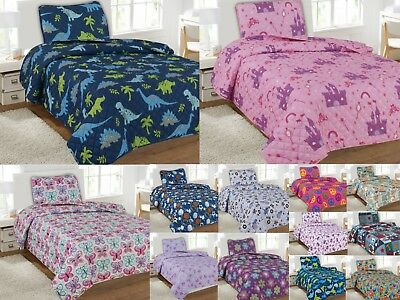 Kids Bedding Quilt Set Twin Size Bed Cover Bedspread Boys Girls