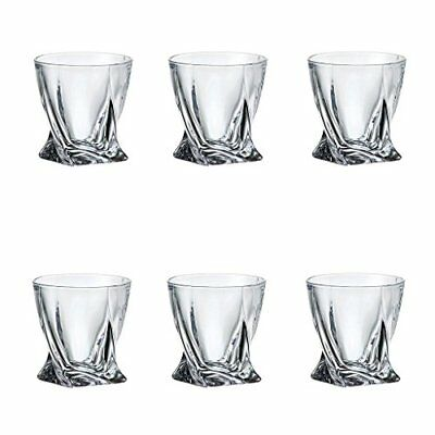 6 Quadro Deluxe Bohemian Crystal 340ml  Whisky Tumbler Glasses Twisted Shaped