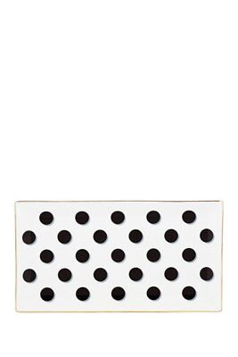 "NEW! Kate Spade New York Daisy Place Black Dots, Gold Rim 11"" Large Tray"