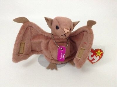"1996 Ty Beanie Babies Batty Brown Bat w/ Dog Tags 4"" Plush Halloween Toy w/ Tags"