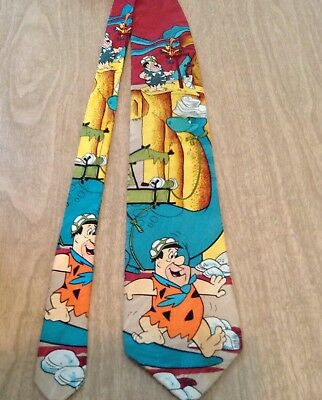 Hanna Barbera Fred Flintstone Cartoon Men's Silk Tie Quittin Time Quarry 1993