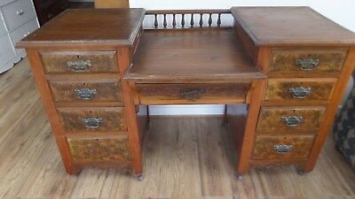 Victorian Pedestal Dressing Table on castors for upcycling.