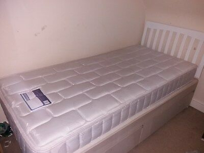 Savoy chelsea 3ft standard single divan bed and mattress 2 for Single divan with drawers and headboard