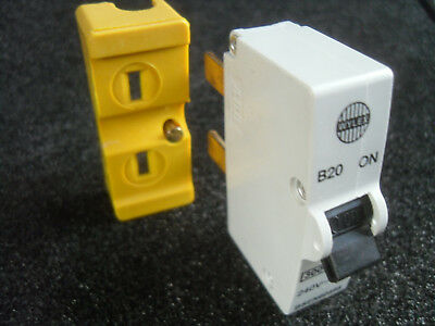 WYLEX 20 AMP MCB Circuit Breaker with matching base, to replace rewireable fuse