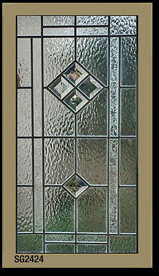 """Nice Leaded glass window bevels & texture art glass 14"""" x 28"""" We make all sizes"""