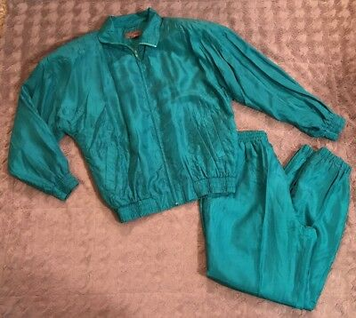 Vtg Swell 80's Green 100% Silk Track Suit Sz M Jacket Full Zip Pants Lined