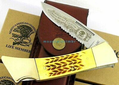NAHC North American Hunting Club Folding Hunter Lockback Knife Bone Hdl Sheath