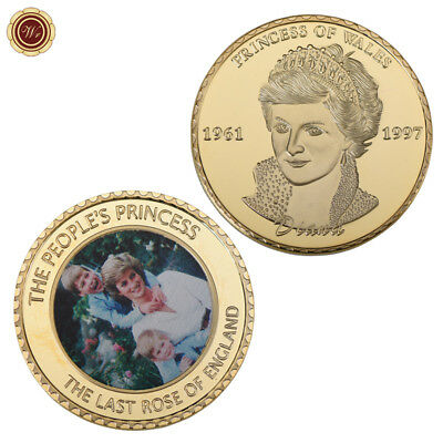 WR Princess Diana 20th Anniversary Collectable Colored Coin Gold Souvenirs Gifts