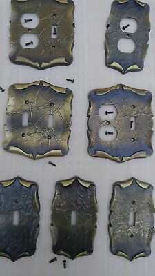 Lot of 7 Vtg. Brass Amerock Carriage House Outlet Light Switch Plate covers set
