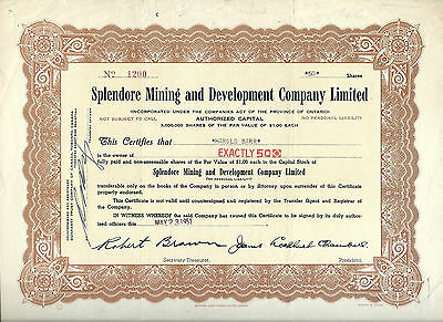 CANADA,Splendore Mining & Development Co Limited Stock Certificate, 1951 Ontario