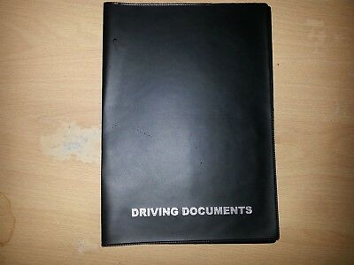 A5 BLACK CAR DOCUMENT HOLDER HOLDER WITH CARD POCKET - printed in Silver