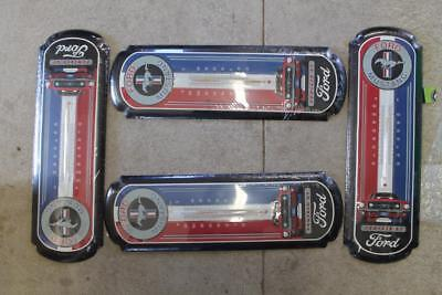 Lot Of 2 Ford Mustang Tin Sign Thermometer Man Cave Shop Auto See Notes Nos