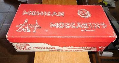 1940s Vintage Pair Shoes Indian Mohican Moccasins in Original Box (MIB) Dunhams