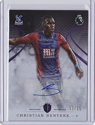 2016 Topps Premier Gold Christian Benteke (#44) Autograph PURPLE Parallel 17/25
