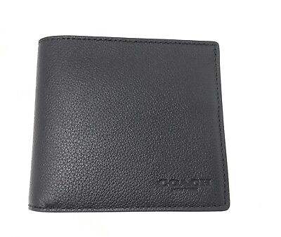 Coach F75084 Men's Black Billfold Double Fold Sport Calf Leather Wallet $150