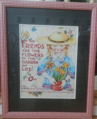 Mary Engelbreit Large Big Tall Framed Art Print Friends Flowers Red White Plaid