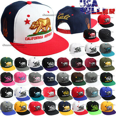 CALI Baseball Cap California Republic Bear Embroidered Snapback Hats Flat Bill