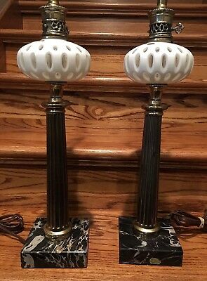 """2 Rare Vintage Italian Marble Lamps Stunning Mint! 32"""" High Matching Italy Heavy"""