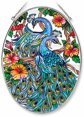 """AMIA Stained-Glass Look """"Peacock""""  Suncatcher -  Hand Painted  ~   NEW"""