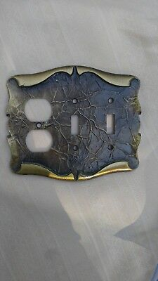 Brass Amerock Carriage House Outlet Light Switch Combo Plate cover vtg Double