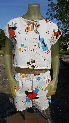 Vintage 90s JULIE GIRL Crop Top Shorts Color block geometric Red Blue Yellow Med