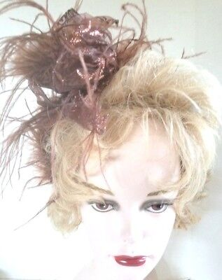 Headband Fascinator Blue Satin with Brown Ribbon and Brown Ostrich Feathers