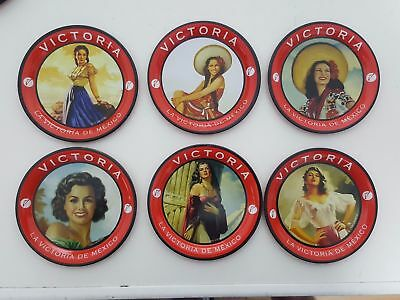 Victoria Beer Metal Coasters - 150th Anniversary - Set of 6 Vintage pictures