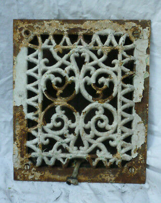 Antique Cast Iron Gothic Scroll Wall Grate Foyer Heat Register Raised Design