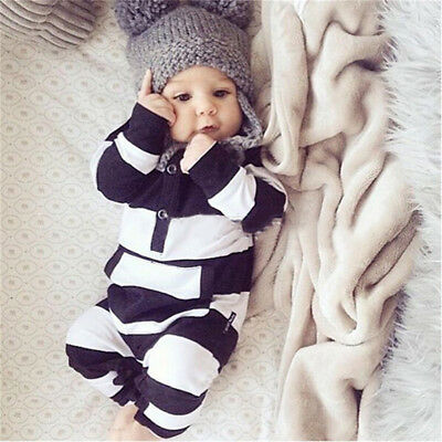 Baby Infants Striped Long Sleeve Rompers Bodysuit Outfits Newborn Set Jumpsuit