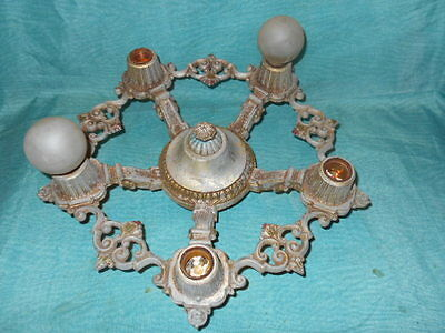 Antique Vintage Cast Iron  Riddle & Co Ceiling Light Lamp Chandelier Fixture