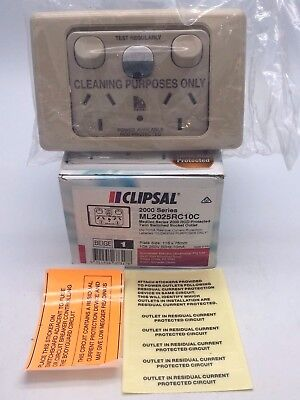 Clipsal ML2025RC10C RCD Protected Power Outlet 10A 250V 10mA Beige Cleaning