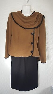 Vintage 80s Caron Petite Brown Black 2 Piece Suit Size 4 Skirt Jacket with Shaw