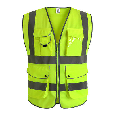 Safety Vest Reflective High Visibility Zippers 9 Pockets Yellow ANSI Class 2